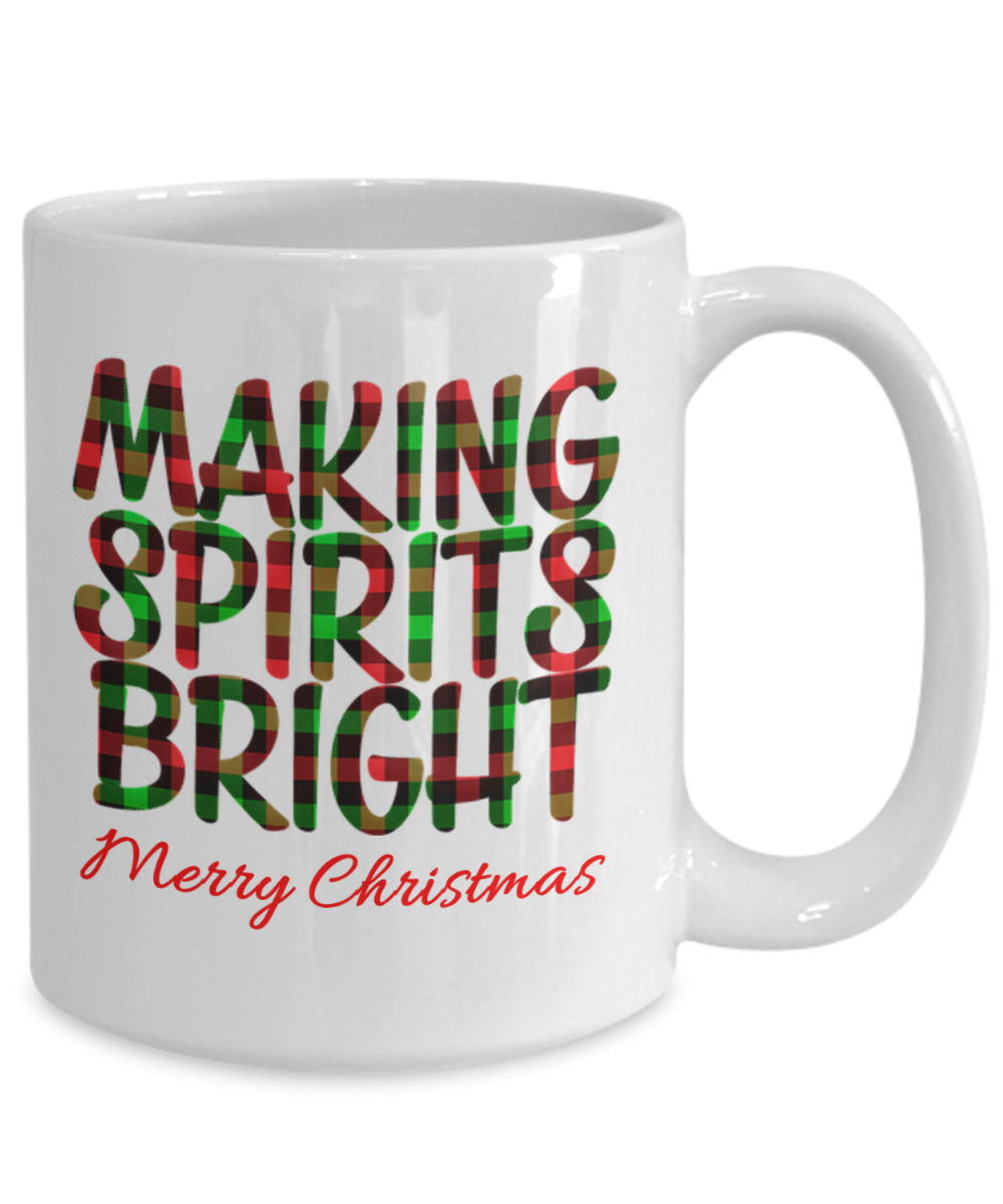 Holiday Cheer Cup Making Spirits Bright Merry Christmas Mug