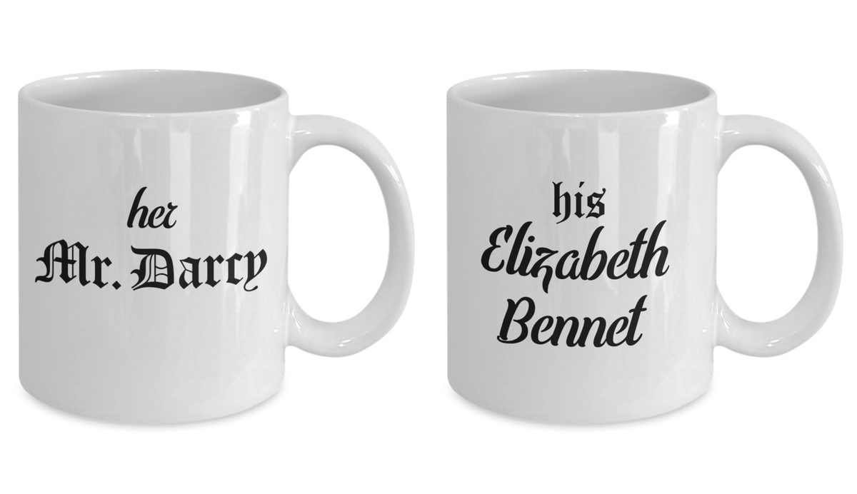 Couples Mug Set Her Mr Darcy His Elizabeth Bennet Literary Gift of Love