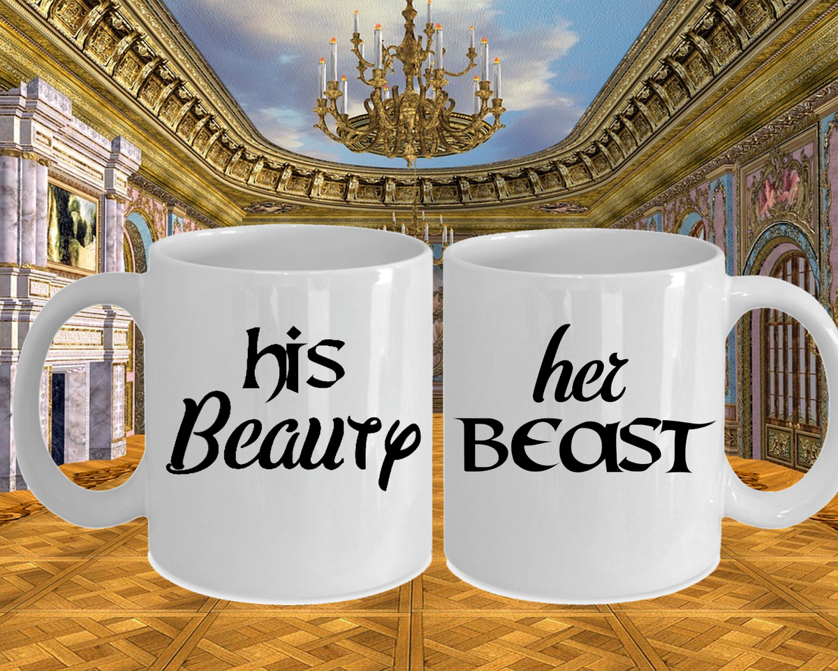Couples Mug Set His Beauty Her Beast Romantic Cup Set