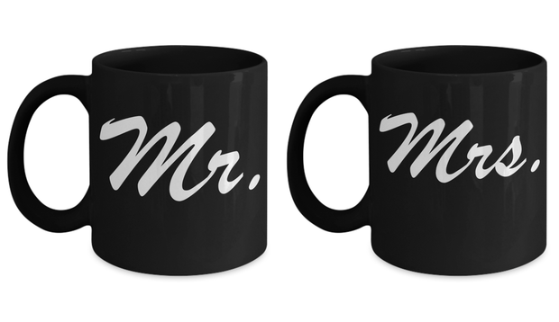 Wedding Gift Mug Set MR and MRS Perfect Anniversary Gift