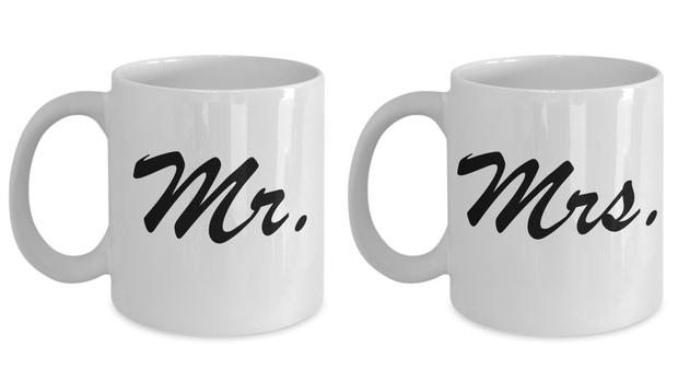 Wedding Gift Mug Set Mr and Mrs Perfect Bride and Groom Gift