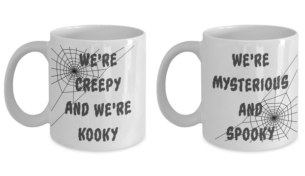 Halloween Mug Set Creepy Kooky Mysterious Spooky Addams Family Gift Set