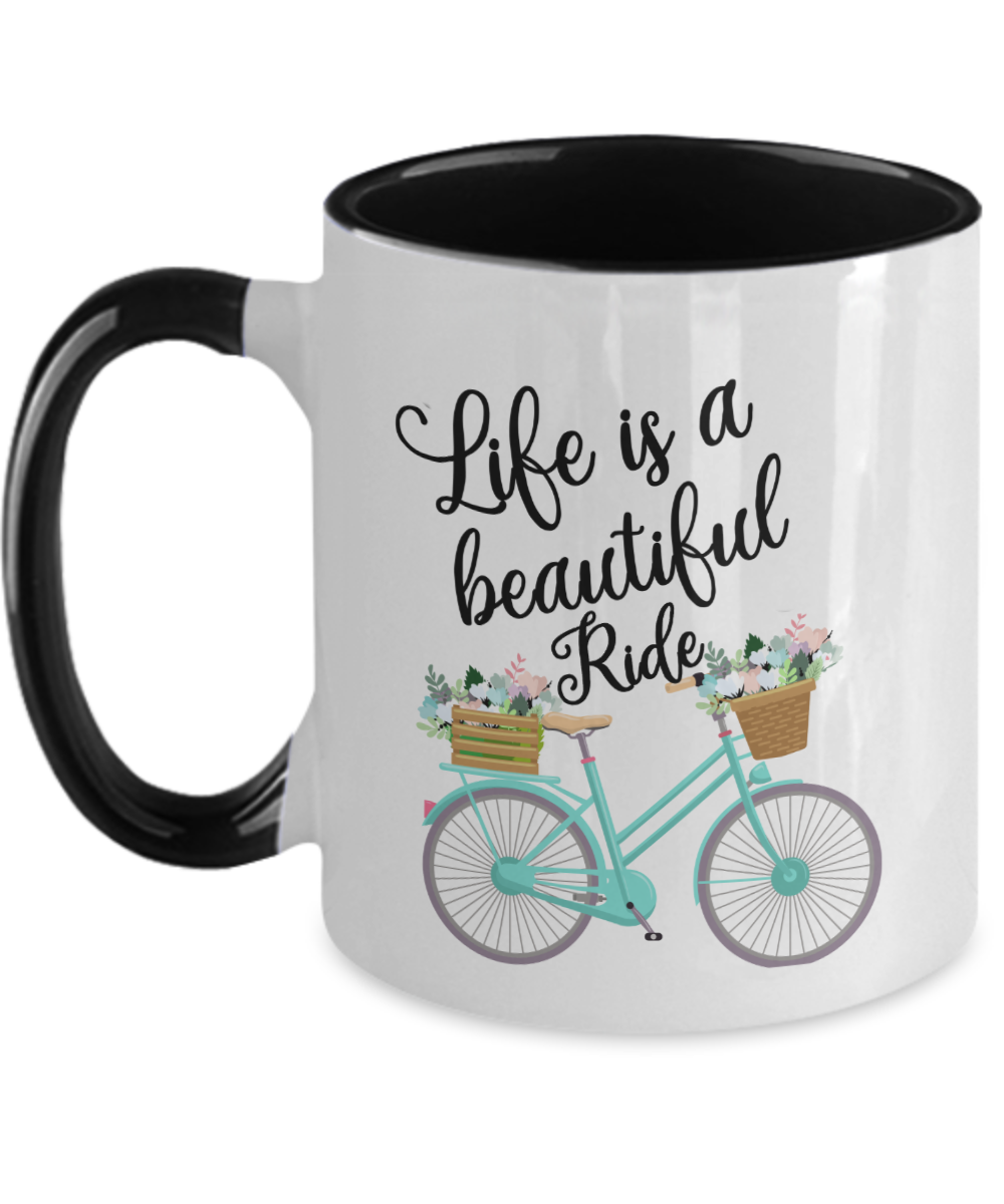 Life Is A Beautiful Ride Mug Vintage Bicycle