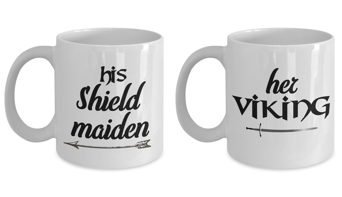 Couple Mug Set Her Viking His Shieldmaiden Love Cup Gift