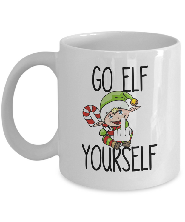 Hilarious Christmas Mug Go Elf Yourself Funny Secret  Santa Gift
