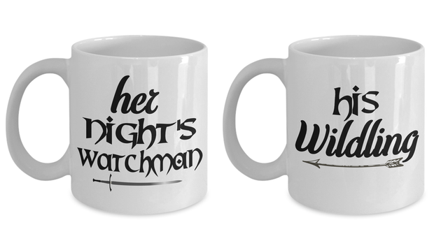 Couple Mug Set Her Night's Watchman His Wildling GOT Novelty Gift Cup Set