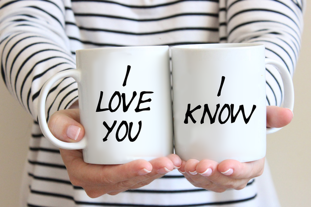 Couples Mug Set I Love You I Know Fun Cup Set for Two Wedding Gift Anniversary Gift Idea Coffee Mugs!