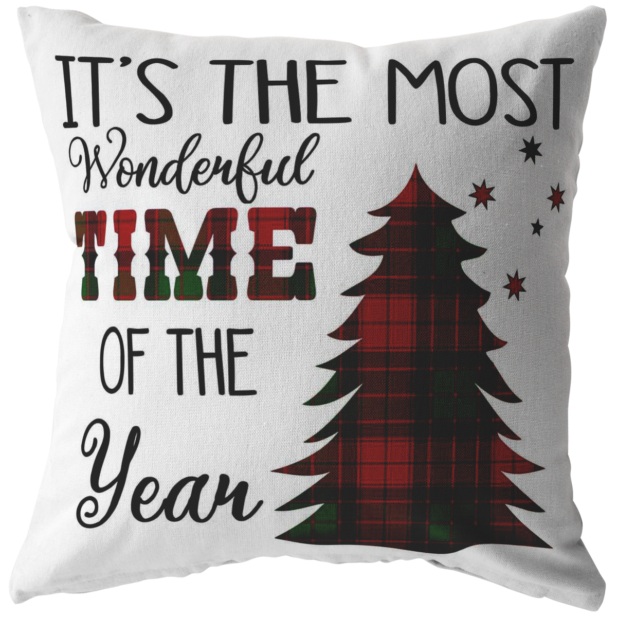 Christmas Home Decor Pillow It's The Most Wonderful Time of the Year Holiday Pillow