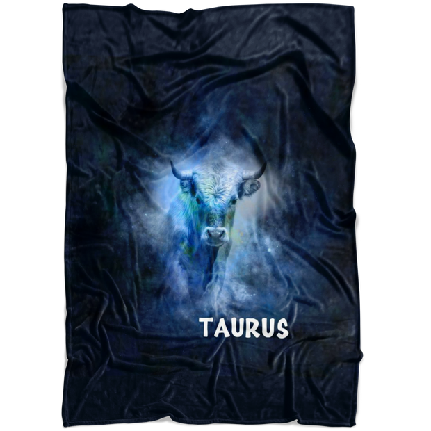 Taurus Astrology Constellation Horoscope Zodiac Fleece Blanket Black