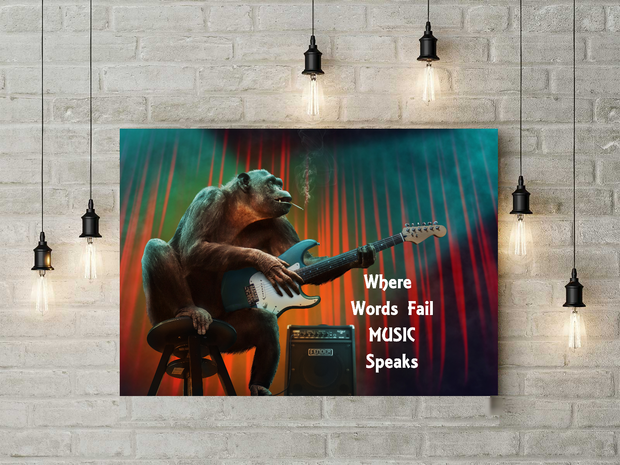 Music Sayings Canvas Wall Art Where Words Fail Music Speaks Monkey Art