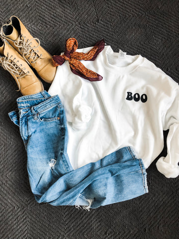 Boo Embroidered Sweatshirt