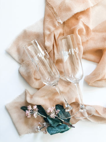 Yours and Mine Champagne Flutes