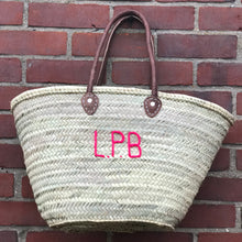 Load image into Gallery viewer, LARGE PERSONALISED BASKET - LEATHER HANDLES