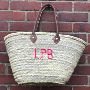 LARGE PERSONALISED BASKET - LEATHER HANDLES
