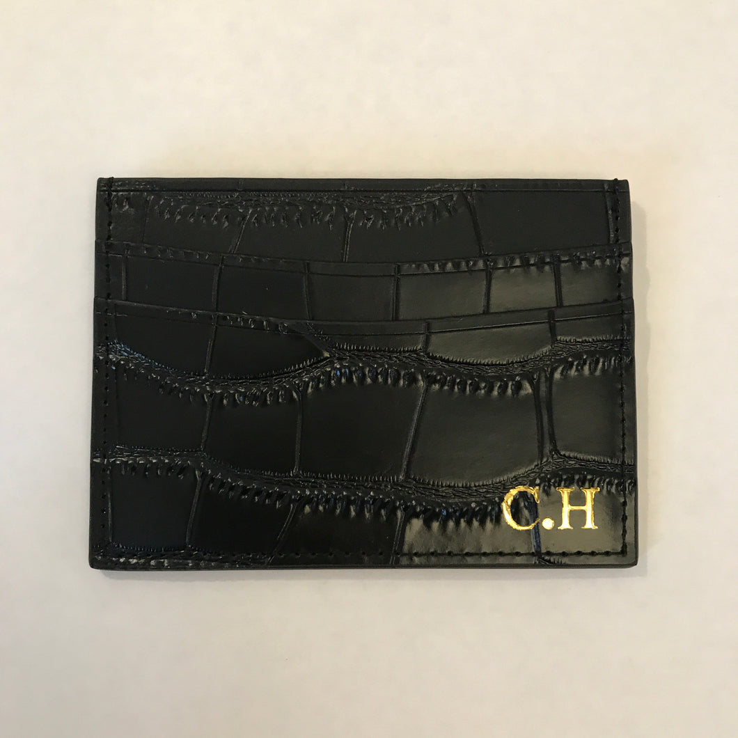 LEATHER CROC CARD HOLDER - PERSONALISED (PRE-ORDER)