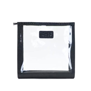 SQUARE LEATHER AND PVC COSMETIC  BAG  - MOCK C LEATHER( PRE-ORDER)