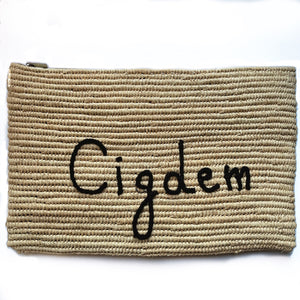 OVERSIZED RAFFIA PERSONALISED CLUTCH