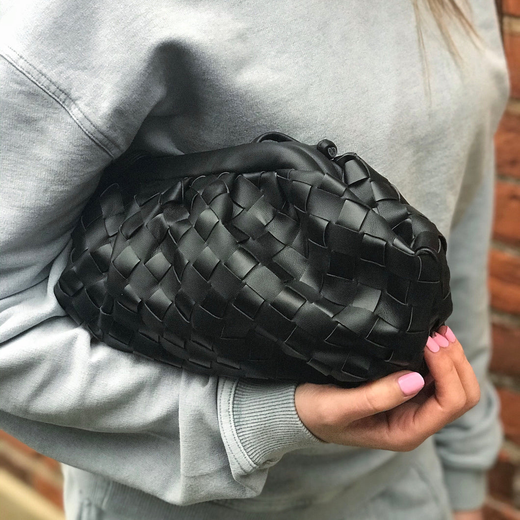 CLOUD BAG WOVEN - BLACK SMALL