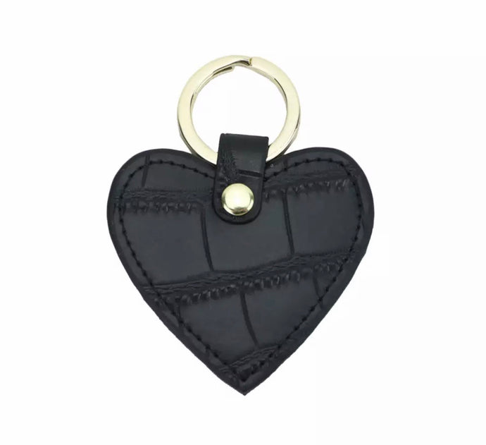 LEATHER HEART MOCK CROC PERSONALISED KEYRING (PRE-ORDER)