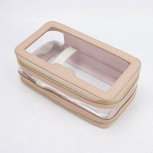 LEATHER DOUBLE LAYER COSMETIC  BAG  - MOCK CROC (PRE-ORDER)