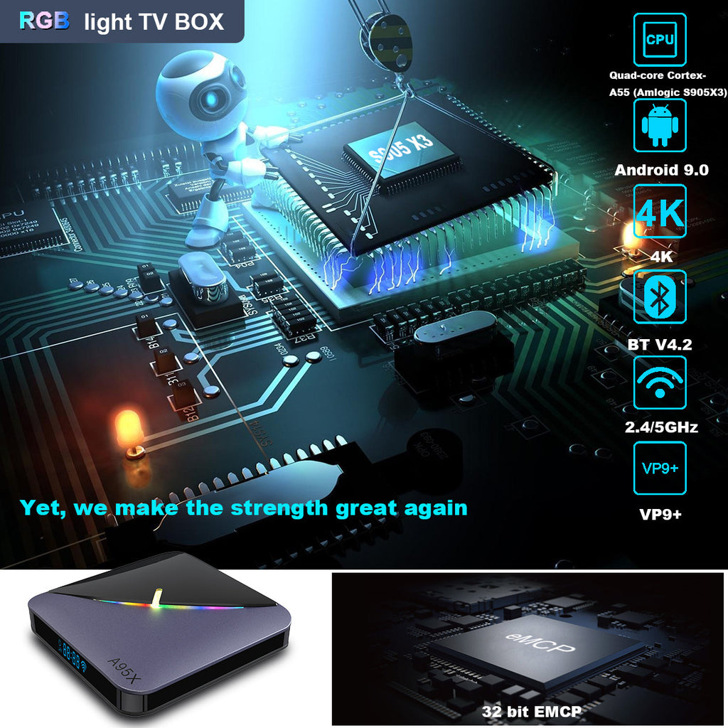 RGB light TV BOX A95X F3 S905X3 4G+32G Smart TV BOX Android 9.0 Dual Wifi 1080P 4K Youtube Set Top Box