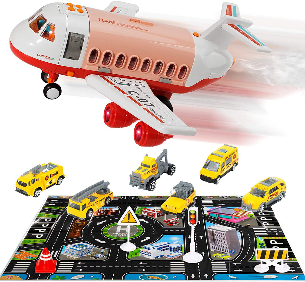 HANMUN Car Toys Set with Transport Cargo Airplane and Large Play Mat, Mini Educational Vehicle Police Car Set for Kids Toddlers Boys Child Gift for 3 4 5 6 Years Old, 6 Cars, Large Plane, 11 Road Signs