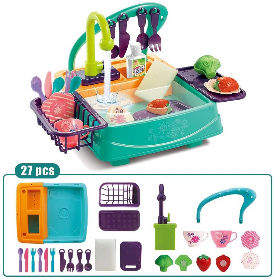 HANMUN 27 Pieces Toy Kitchen Set Play Kitchen Toy Utensils Play Dishes Accessories Plates Dishwasher Playing Toy with Running Water, Play House Pretend Role Play Toys for Boys Girls