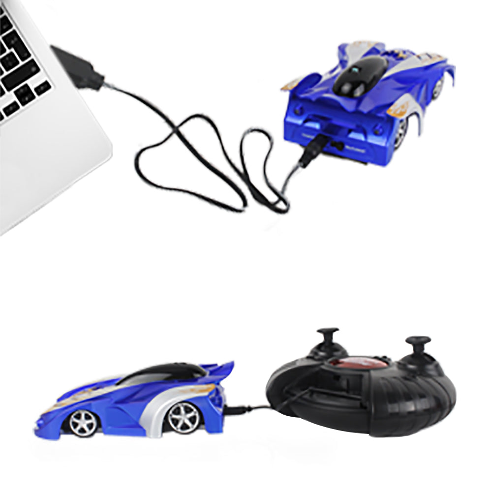 RC Remote Control Car - Rechargeable Wall Climbing Cars 360°Rotating USB Race Toy Cars with LED Light Wall Stunt Climber Racing Car for Kid Best Gifts for Adult and Kids(blue)