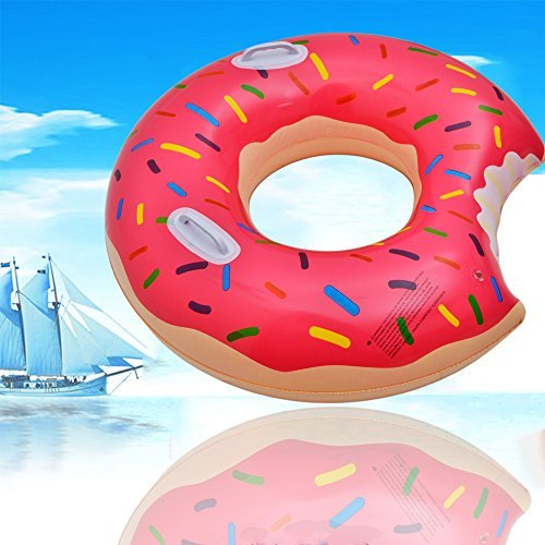 Swimming Pool Floats Swim Rings - HQ17001-Pink Summer New Design Handhold Donut Inflatable Swim Pool Ring Red Brown for Adults Toddler Kids (Red)