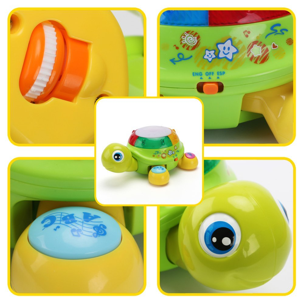 Electronic Smart Turtle Learning Toy - Toddlers Activity Center Music Toys Early Development Education Toy for Kids by Hanmun