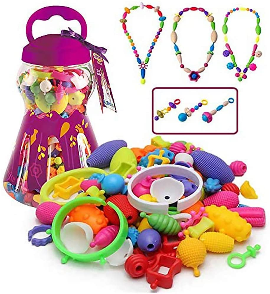 HANMUN Snap Pop Beads Girls Toy 528 Pieces DIY Jewelry Kit Fashion Fun for Necklace Ring Bracelet Art Crafts Gifts Toys for 3, 4, 5, 6, 7 ,8 Year Old Kids Girls