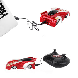 RC Remote Control Car - Rechargeable Wall Climbing Cars 360°Rotating USB Race Toy Cars with LED Light Wall Stunt Climber Racing Car for Kid Best Gifts for Adult and Kids(red)