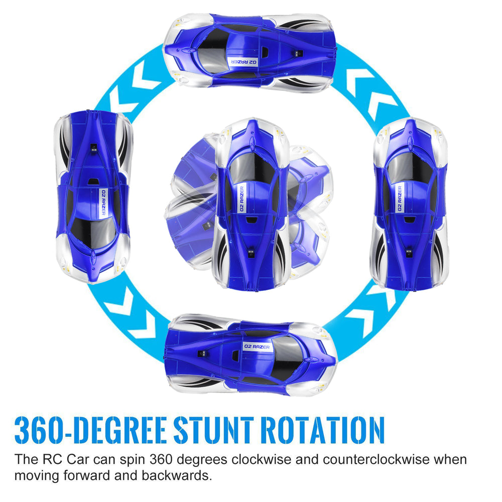 Wall Climbing RC Car 2020 Remote Control Wall Climbing Car Kids Toys Dual Mode 360°Rotating Stunt Rechargeable High Speed Vehicle with LED Lights Xmas Gift for Boys Girls(blue)