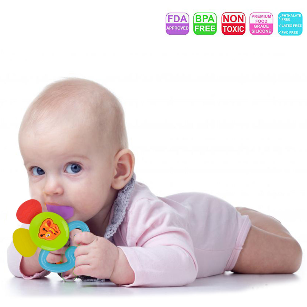Teether Rattle Set Baby Toy 8pcs Grab