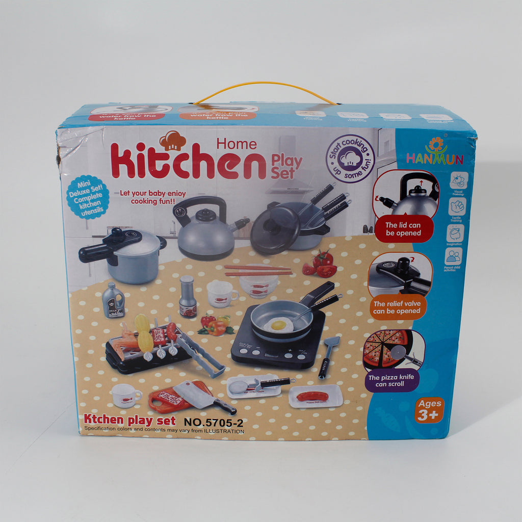 HANMUN 36 Pieces Cooking Pretend Play Toy Kitchen Cookware Playset Including Pots and Pans Play Food, Cutting Vegetables, Toy Utensils Gray