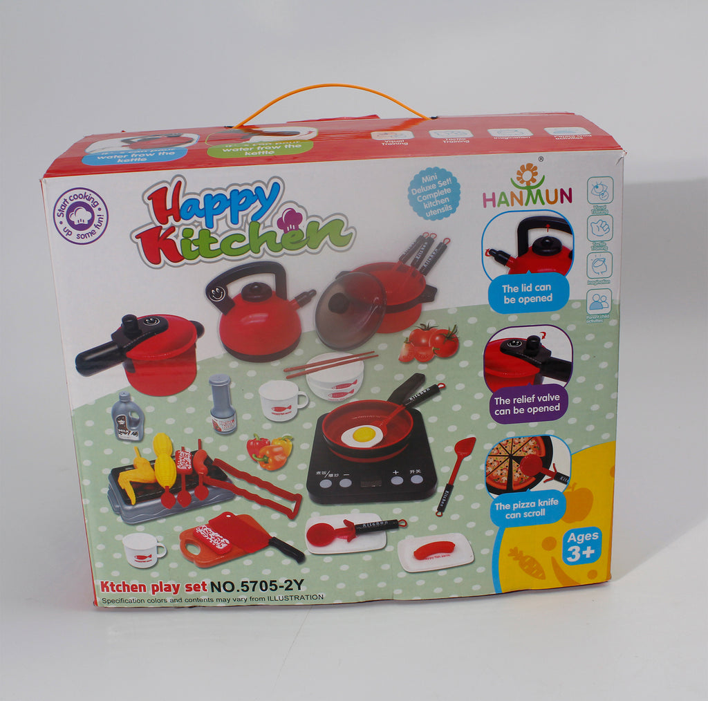 HANMUN 36 Pieces Cooking Pretend Play Toy Kitchen Cookware Playset Including Pots and Pans, Play Food, Cutting Vegetables, Toy Utensils