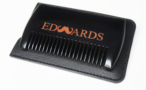 Double Sided Black Wooden Beard Comb