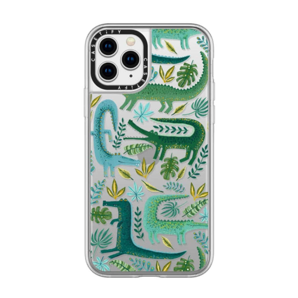 Casetify iPhone Grip Green Crocodiles Wildlife Case