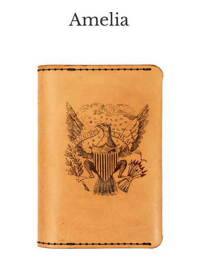 AMELIA Handcrafted Antique-Style Engraved Leather Passport Wallet - Legacy Leather Books