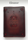 ELEANOR Handcrafted Antique-Style Engraved Filigree Leather Book Cover - Legacy Leather Books