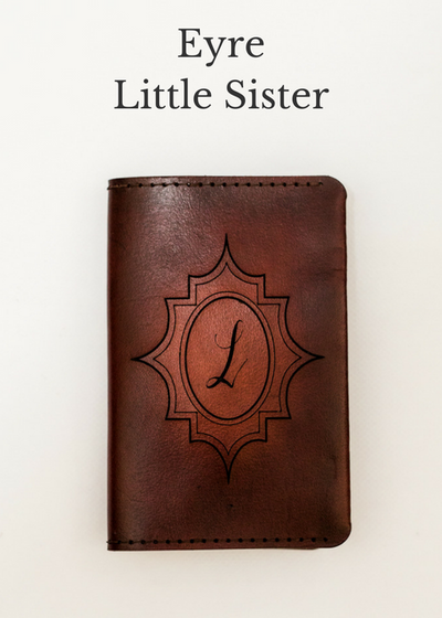 EYRE Little Sister Handcrafted Antique-Style Engraved Leather Book Cover - Legacy Leather Books