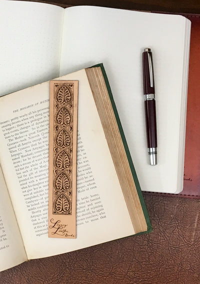 Antique-style engraved leather bookmark, Style 1 - Legacy Leather Books