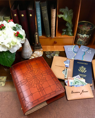 MAYA Handcrafted Antique-Style Engraved Leather Book Cover, PASSPORT COVER, and MINIMALIST CARD WALLET - Legacy Leather Books