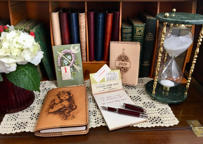 ROSSETTI Limited Edition and ELEANOR Little Sister Handcrafted Antique-Style Engraved Leather Book Covers - Legacy Leather Books