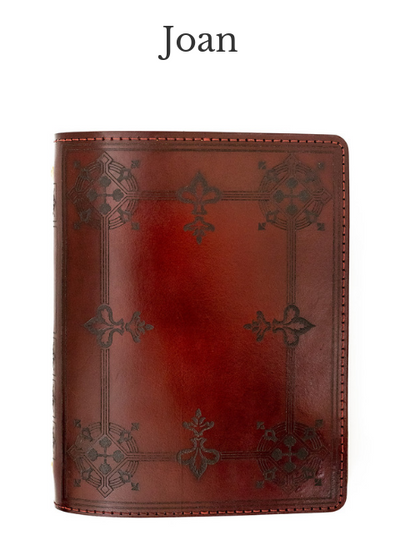 JOAN Handcrafted Antique-Style Engraved Leather Book Cover - Legacy Leather Books