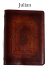 JULIAN Handcrafted Antique-Style Engraved Leather Book Cover - Legacy Leather Books