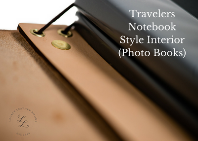 Handcrafted Antique-Style Engraved Leather Book Cover - Legacy Leather Books - travelers notebook style interior with photo books