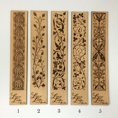 Antique-style engraved leather bookmarks - styles one through five - Legacy Leather Books