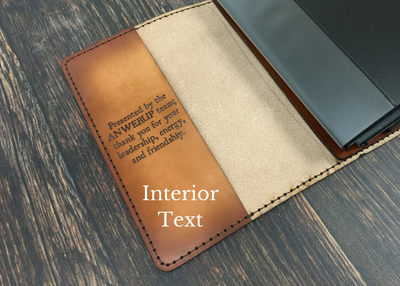 Handcrafted Antique-Style Engraved Leather Book Cover - Legacy Leather Books - front cover featuring interior text