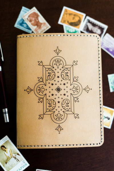 SCHEHERAZADE Little Sister Handcrafted Antique-Style Engraved Leather Book Cover - Legacy Leather Books